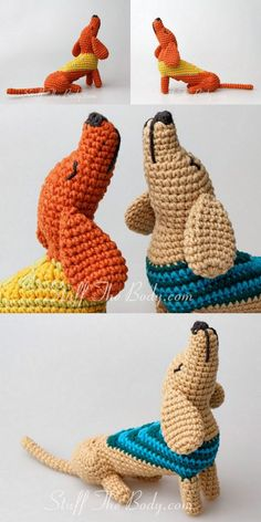 Free amigurumi dog crochet patterns are waiting for you in this article. You can find the most recent amigurumi recipes on our website. Crochet Animal Amigurumi, Dog Crochet, Cute Crochet, Crochet Animals, Crochet Crafts, Crochet Dolls, Yarn Crafts, Crochet Projects, Crochet Dog Patterns