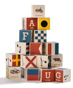 Made in USA nautical ship flag baby wooden toy alphabet blocks