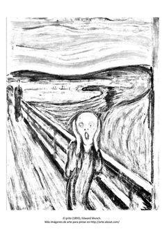 9 dibujos de cuadros famosos para pintar: Para pintar: El grito