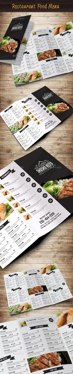 Restaurant Food Menu by Menu Restaurant, Menu Bar, Cafe Menu, Restaurant Recipes, Restaurant Design, Menu Layout, Book Layout, Food Menu Template, Menu Templates