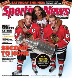 @Chicago Blackhawks stars Jonathan Toews and Patrick Kane share the cover of Sporting News with Joakim Noah and the #StanleyCup after their 2011 Championship win. The Blackhawks will battle the Bruins tonight (series 3-2) in the 2013 Stanley Cup Finals to bring the cup back to Chicago. #OneGoal