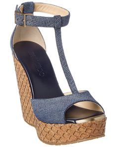 Jimmy Choo Pela Denim Leather & Lasered Cork Covered Wedge is on Rue. Shop it now.