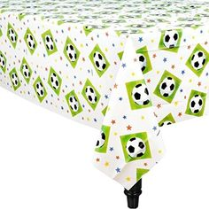 Amscan Soccer Goal Birthday Party Championship Table Cover Tableware BlackWhite 54 x 102 *** For more information, visit image link.Note:It is affiliate link to Amazon.