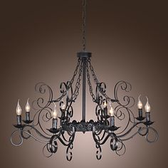 Max Traditional/Classic Candle Style Others Chandeliers Living Room / Bedroom / Dining Room - Lighting pop Dinning Room Chandelier, Cheap Chandelier, Vintage Chandelier, Dining Room Lighting, Modern Chandelier, Lustre Antique, Lustre Metal, Antique Iron, Old Fashioned Decor