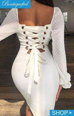 Dots Mesh Splicing Lace-Up Back Bodycon Dress Lace Dress Styles, African Lace Dresses, Latest African Fashion Dresses, African Print Fashion, Classy Dress, Classy Outfits, Chic Outfits, Fashion Outfits, Dress Fashion