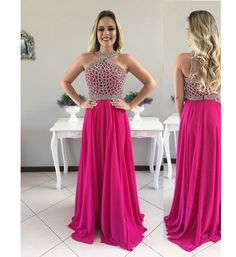 Women's Charming Beaded Long A-Line Prom Dress for