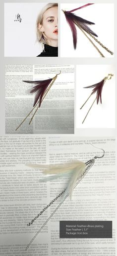 Long Feather Earring Korean and Modern Style