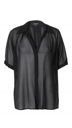 Black see through silk shirt.