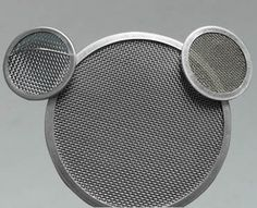 One big filter disc and two small filter discs, made of stainless steel and brass wire cloth with aluminum framed edge.