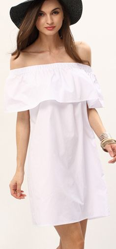 We do not need to fllow others. it is not that hard to be fashion and cute. i buy this one for myself, then i can make the same one for others.... White Off The Shoulder Ruffle Shift Dress