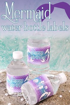Check out these let's be mermaids birthday water bottle labels, designed to match your mermaid supplies, and easy to peel and stick for fast mermaid favors. Mermaid Theme Birthday, Little Mermaid Birthday, Little Mermaid Parties, 1st Birthday Girls, Happy Birthday, Birthday Ideas, Birthday Party Table Decorations, Birthday Party Tables, Mermaid Table Decorations