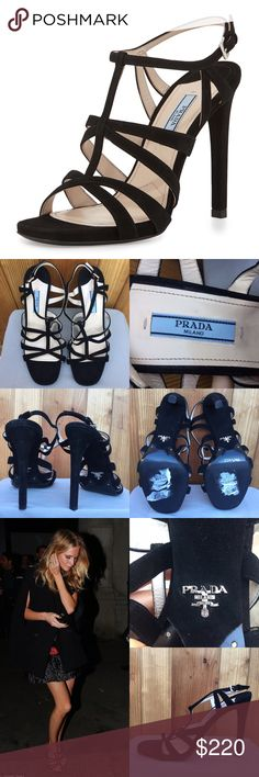 """Prada cage front black suede strappy sandal size 9 100% authentic Prada black suede strappy sandals, size 39.  Brand new, but there is sticky residue on the soles from the price stickers.  Also, there is slight wear to the back of the heels, from storage. These pretty Prada sandals are crafted from black suede material, feature slender straps, as well as towering 4.5"""" heels.  No box or dust bag.  Retail $790.  * Prada strappy suede sandal. * 4.5"""" covered heel. * Caged vamp. * Adjustable…"""