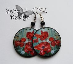 Gift for her under 20 - Poppies earrings decoupage floral earrings fall by SaboDesign, $15.00