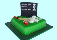 For Cake's Sake by Camila Renault: Cricket Cake Cricket Birthday Cake, Cricket Theme Cake, 7th Birthday Party Ideas, 65th Birthday, Birthday Cakes, Dad Cake, Sport Cakes, Types Of Cakes, Cake Business