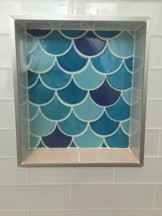 Handmade Fish Scales Tiles - bathroom niche - Caribbean Blue - Blue Bell - Mercury Mosaics Workshop - Mermaid bathroom
