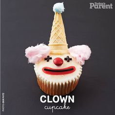 Clown around and make this delicious cupcake. Clown Cupcakes, Clown Cake, Kid Cupcakes, Yummy Cupcakes, Birthday Cupcakes, Cupcake Cakes, Birthday Parties, Clown Party, Zombie Party