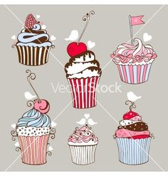 Decorative hand drawn sweet cupcakes vector bakery by geraria on VectorStock®