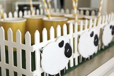 "little lamb fenced in beverage ""pasture"" for baby shower"