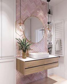 Elegant and luxurious bathroom design ideas for stylish decor -. - Elegant and luxurious bathroom design ideas for stylish decor – - Pink Bathroom Tiles, Pink Tiles, Modern Bathroom, White Tiles, Pink Bathrooms, Master Bathrooms, Dream Bathrooms, Bathroom Wallpaper Pink, Mirrored Tile Bathroom