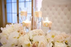 Gold and white sweetheart table decor