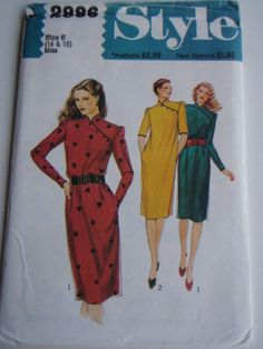 80's Sewing Pattern  Style 2886 Asian style by jennylouvintage