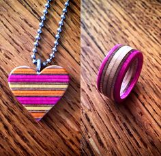 Skate Kreations Recycled Skateboard Heart Necklace and Ring in Pink for the ladies  #skatekreations #recycledskateboardart