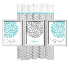 Relax Soak Unwind - Grey Gray Teal Blue - Flourish Flower Artwork Set of 3 Bathroom Prints Wall Decor Art Picture Match on Etsy, $25.00