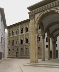 Palazzo Rucellai - by Alberti - digital reconstruction (it is now a busy shopping thoroughfare and the loggia is glassed in) begun c. 1457