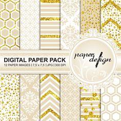 digital paper gold creme digital Background Printable von Stilboxx