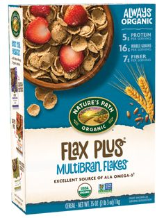 Nature's Path Organic Flax Plus Multibran Cereal, Oz Organic Cereal, Vegan Food List, Natures Path, Whole Grain Cereals, How To Become Vegan, Healthy Cereal, Organic Protein, Plant Protein, Breakfast