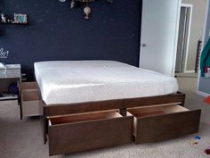 Wood Platform Storage Bed With Drawers.Creative Under Bed Storage Ideas For Bedroom. California King Platform Bed With 4 Drawers Contempo Space. Augusta Tall Storage Platform Bed With Headboard PlatformBedsOnline Com - The Golden Ways Diy Platform Bed Plans, King Platform Bed Frame, Platform Bed With Drawers, Platform Bed Designs, King Bed Frame, Platform Beds, Bed With Drawers Underneath, Bed Frame With Drawers, Bed Frame With Storage