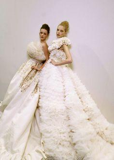 lady-dutch:    Tanya Dziahileva and Imogen Morris Clarke | Giambattista Valli Spring/Summer 2009 backstage