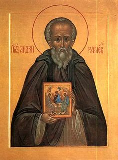 """Andrei Rublev, Russian iconographer, is celebrated on July His """"Holy Trinity"""" (Hospitality of Abraham) is considered the most perfectly executed of all icons. He died around 1430 AD. Religious Icons, Religious Art, Andrei Rublev, The Monks, Russian Art, Sacred Art, Christianity, Illustrators, Saints"""