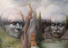 Blurring famous figures of art and culture with landscapes the ingenious artist's work requires a double take - or sometimes, minutes of sta...