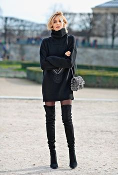 Classy Outfits, Trendy Outfits, Fall Outfits, Fashion Outfits, Womens Fashion, Black Outfits, Ootd Fashion, Black Stockings Outfit, Dress With Stockings