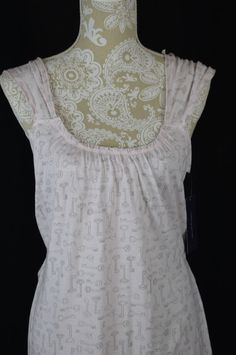 Tommy Hilfiger Womens Large Pink White Key Sleepwear Night Gown NEW Tank Top Tie #TommyHilfiger #Gowns
