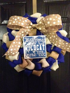 UK Wildcats Themed Burlap Wreath