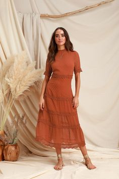 Look lovely as ever in the Lulus Dreaming of You Rust Orange Swiss Dot Midi Dress! Swiss dots and crochet lace adds femme flair to this woven midi dress. Long Sleeve Midi Dress, Lace Midi Dress, Midi Skirt, Coral Dress, Surplice Dress, Kimono Dress, Rust Orange Dress, Coral Orange, Deco Studio