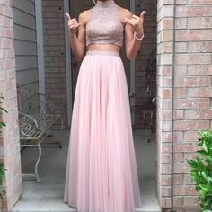 Sherri Hill Prom Dress Blush pink two piece beaded top with tule ball gown skirt Sherri Hill Dresses Prom