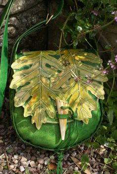✯ Hand Carved Green Oak Leaf Bag with Side Motifs and Decorative Bone Toggle :: By Sky Raven Wolf ✯