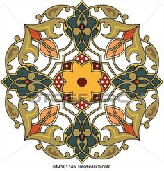 Green, red and orange flower pattern Arabesque Design View Large Clip Art Graphic