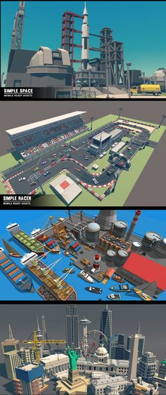 SimpleWorld - Volume Two A simple asset pack of environments, vehicles, buildings, Characters, Props, Items and Effects to create an urban city based game. Modular sections are easy to piece together in a variety of combinations. Includes demo scenes. Unity Game Assets