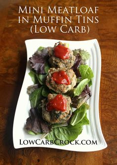 Mini Meatloaf in Muffin Tins w/ Spinach and Bacon #oamc #freezercooking lowcarbcrock.com