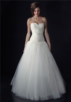 Dropped waist tulle ball gown with sweetheart neckline | Bella Odette from Heidi Elnora