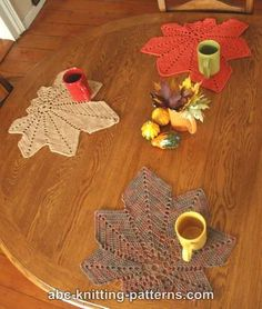 ABC Knitting Patterns - Chestnut Leaf Table Runner and Placemats.