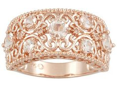 Stratify(Tm) 1.23ctw Round Pink Morganite And White Topaz Accent 18k Rose Gold Over S/S Ring