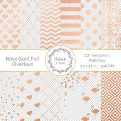 Rose Gold Foil Digital Overlays Transparent Gold Foil