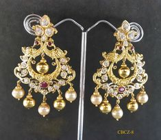 Designer 916 Chandibali Studded With Cz And Ruby Stone MOHINI GEMS N JEWELS WHATS APP : +919246568797 18k Gold Jewelry, Gold Jewellery Design, Pendant Jewelry, Wedding Jewelry, Indiana, Gold Earrings Designs, Ring Verlobung, Trendy Jewelry, Jewels
