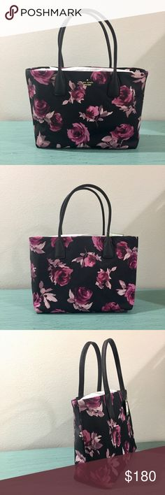 "NWT: Kate Spade Catie Nylon Tote Kate Spade Classic Nylon Collection, Vibrant brush strokes paint a chic and durable tote. Double top handles. 7"" drop. Magnetic snap closure. 9one inside zip pocket. Two open pockets. Dimensions: 12.5w x 10h x 5 D. kate spade Bags"