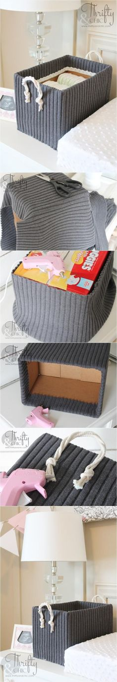 Cute Storage Boxes from Old Boxes and Sweaters. With our wide selection of box sizes this easy DIY is a great option with unlimited potential! DIYs with packing supplies! Cute Storage Boxes, Diy Storage, Storage Bins, Storage Containers, Diy Home Crafts, Diy Crafts To Sell, Diy Para A Casa, Ideias Diy, Old Boxes